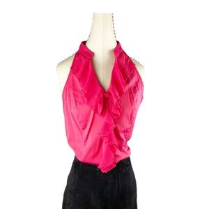 Expres Red Top Sleeveles Ruffle Bow V-neck Blouse